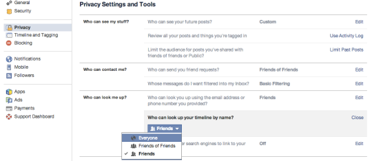 SCREENSHOT OF FB PRIVACY SETTINGS